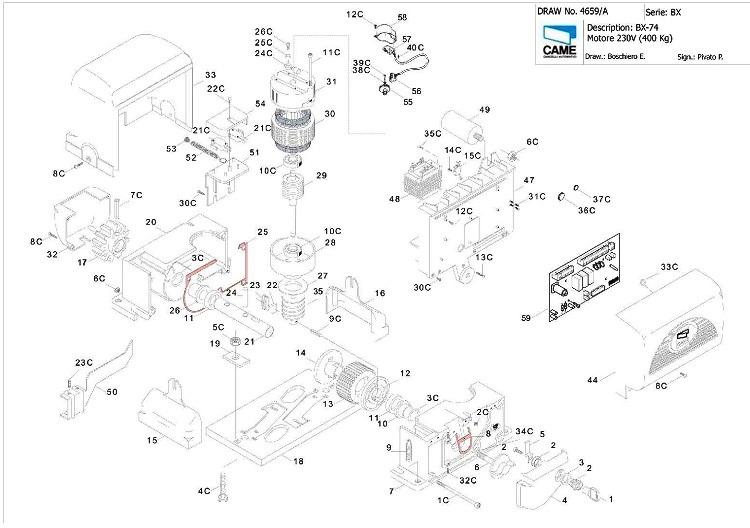 Zbx74 pre posuvn motory bx a bx b for Came zbx74 78 schema